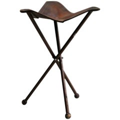 French 1940s Modern Neoclassical Iron and Leather Folding Stool
