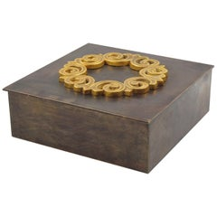 French 1940s Modernist Brass Box with Gilt Decor