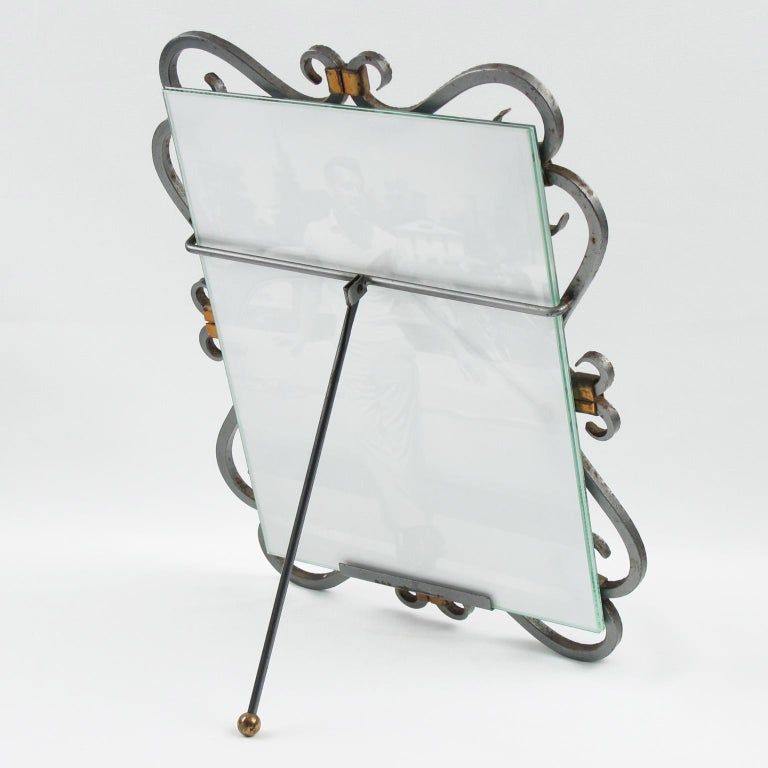 Mid-Century Modern French 1940s Modernist Wrought Iron Picture Photo Frame For Sale