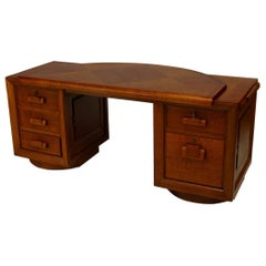 French 1940's Oak Desk Signed by Charles Dudouyt