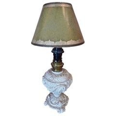 French 1940s Painted Metal Table Lamp with Wax Shade