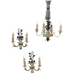 French 1940s Painted Tole Chandelier and Two Sconces