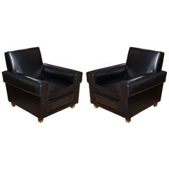 French 1940s Pair of Oversized Club Chairs by Erton