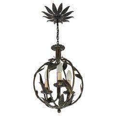French Parcel-Gilt Wrought Iron Globe Pendant Light / Lantern with Leaves Design