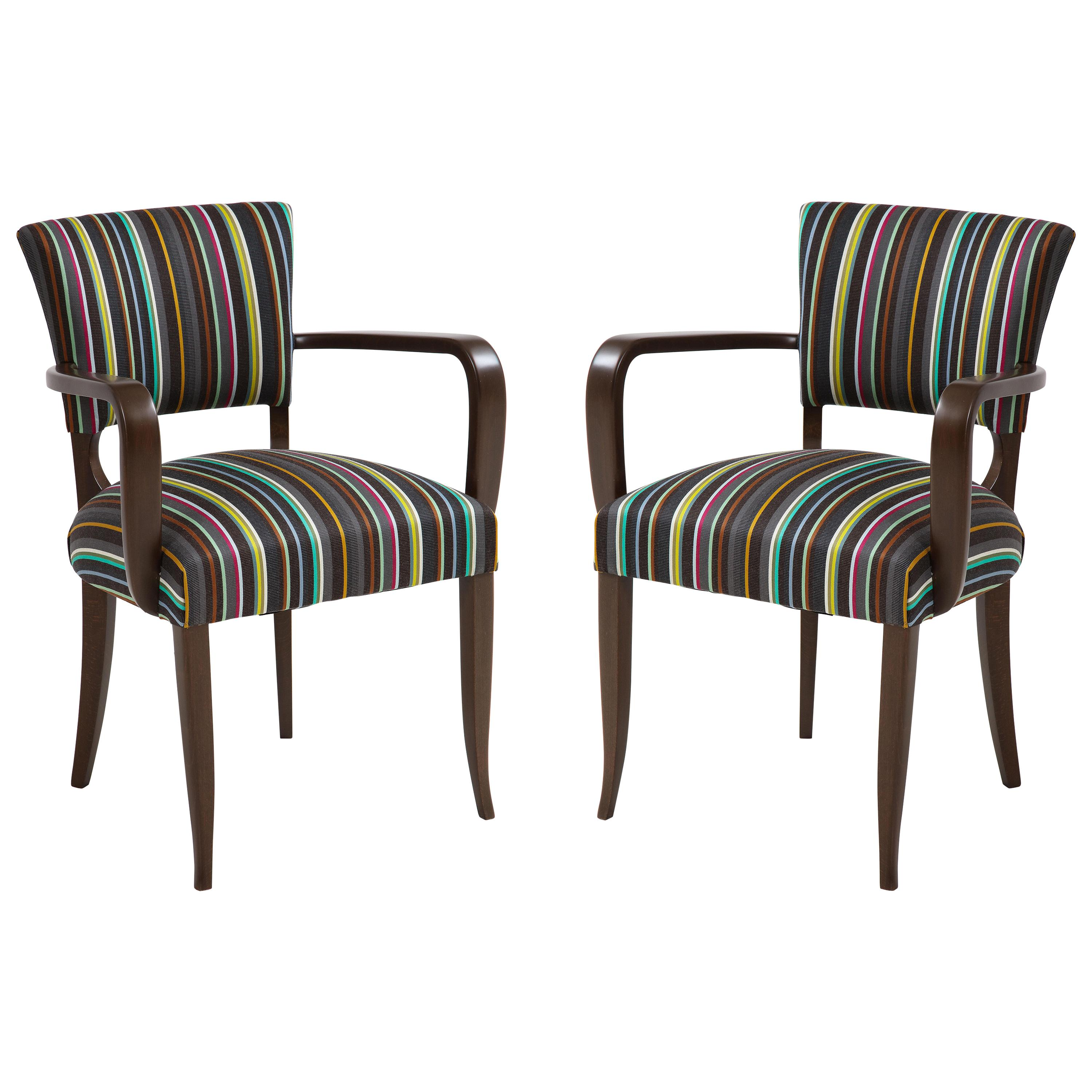 French 1940s, Paul Smith Striped Armchairs