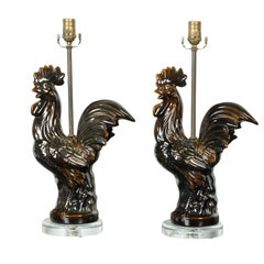 French 1940s Pottery Rooster Table Lamp with Dark Brown Patina and Lucite Base