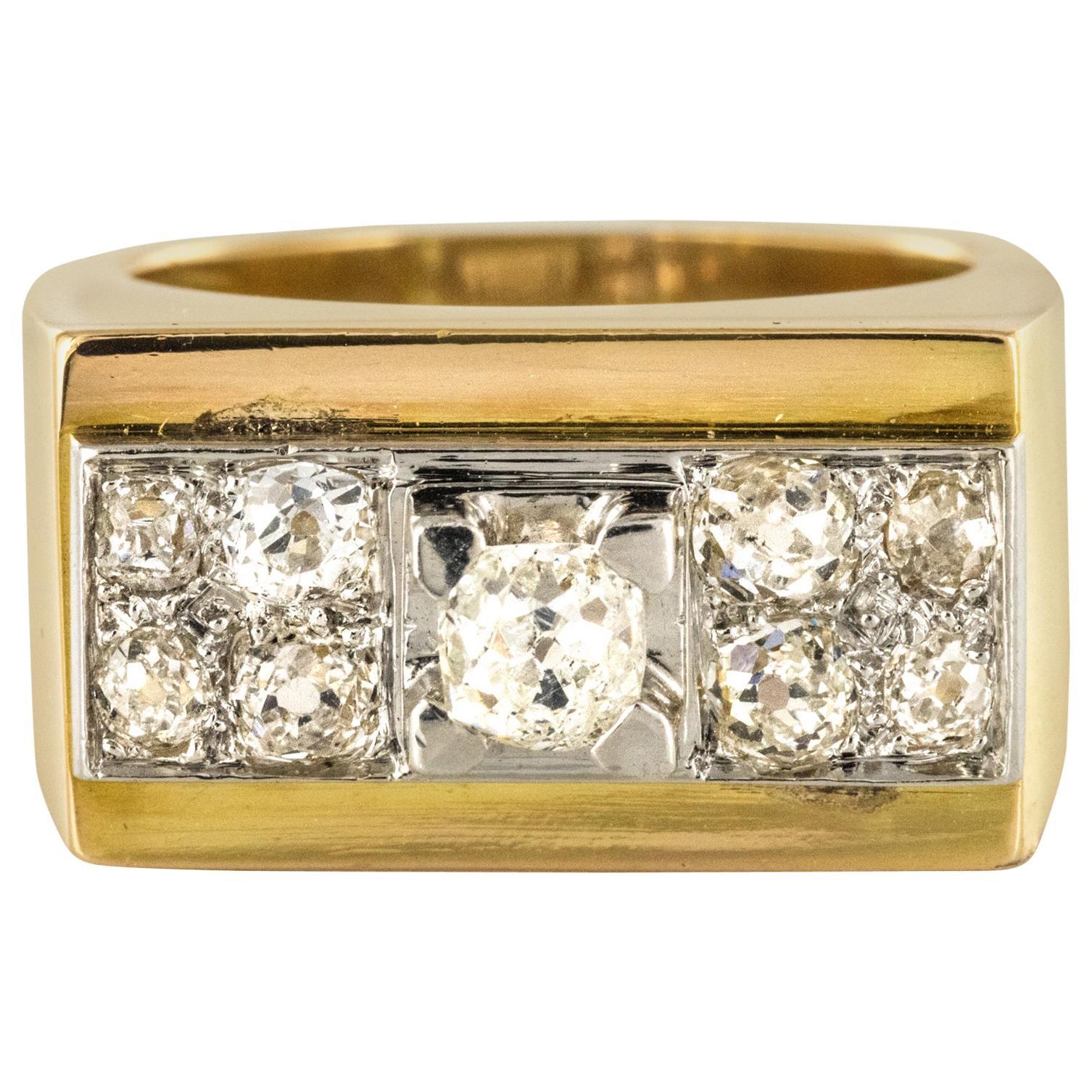 French 1940s Retro Diamond Platinum Gold Geometric Tank Ring