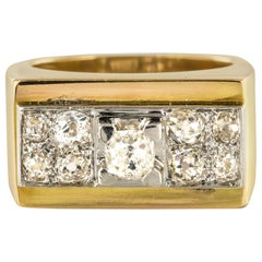 French 1940s Retro Diamond Platinum Gold Geometric Tank Ring