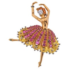 French 1940s Retro Ruby Diamond Citrine Gold Ballerina Brooch Pin