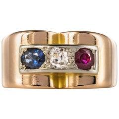 French 1940s Ruby Diamond Sapphire 18 Karat Yellow Gold Patriotic Tank Ring