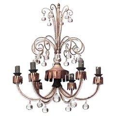 French 1940s Scroll Design Six-Arm Chandelier, Attrib. to Baguès