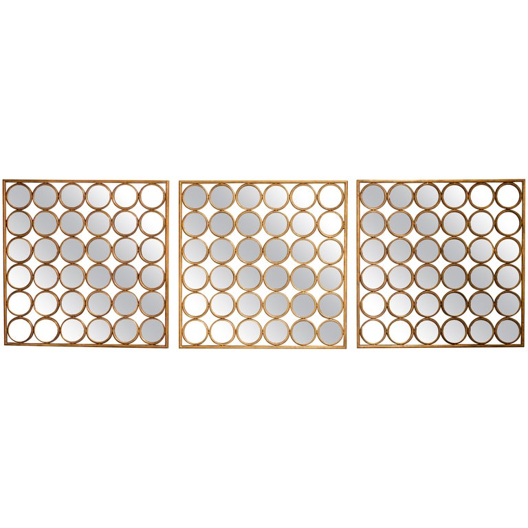 French 1940s Sorcière Bronze Triptych Mirrors For Sale
