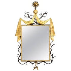 French 1940s Style Iron and Gold Trimmed Wall Mirror