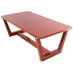 French 1940s Style Red Lacquered Coffee Table