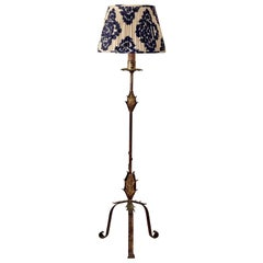 French 1940s Tole Floor Lamp with Ikat Shade