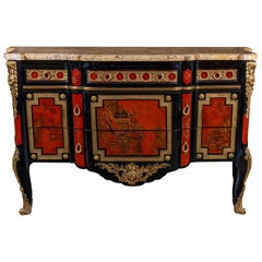A French 1940s Transitional Style Red & Black Chinoiserie Commode