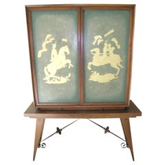 French 1940s Two-Door Carved Green Glass Bar Cabinet