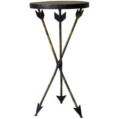 French 1940s Wrought Iron Arrow Motif Table