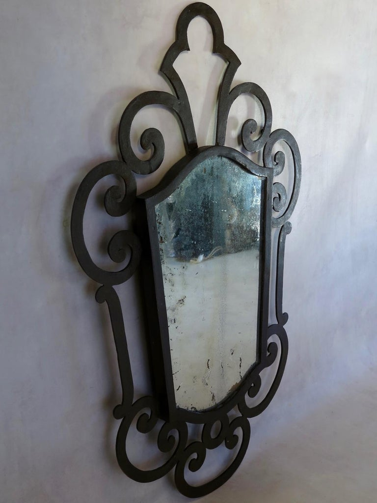 20th Century French 1940s Wrought Iron Art Deco Mirror For Sale
