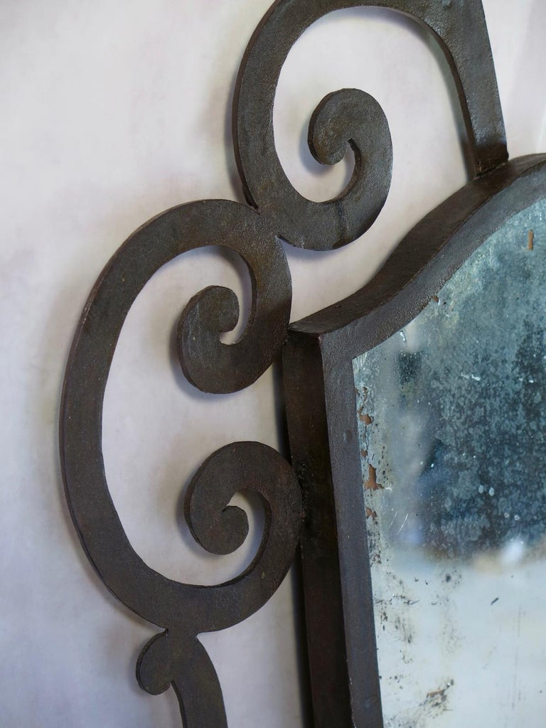 French 1940s Wrought Iron Art Deco Mirror For Sale 1
