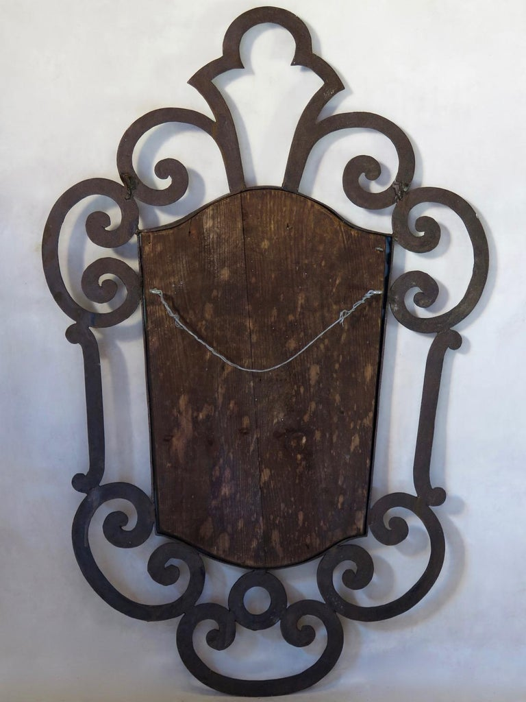 French 1940s Wrought Iron Art Deco Mirror For Sale 2