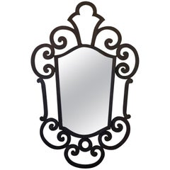 French 1940s Wrought Iron Art Deco Mirror