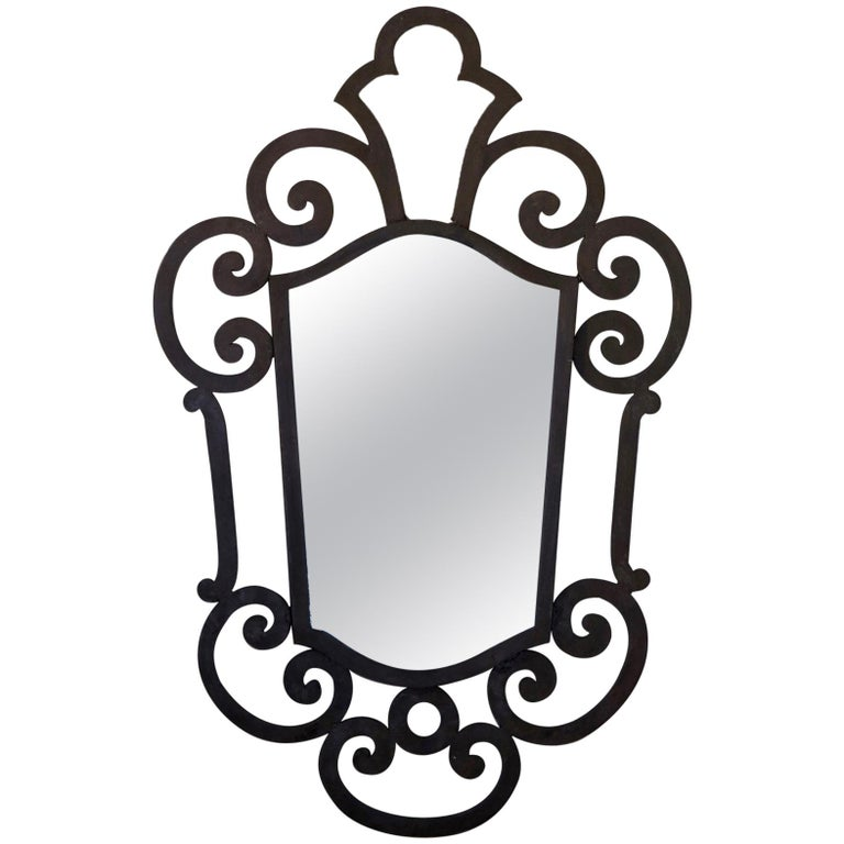 French 1940s Wrought Iron Art Deco Mirror For Sale