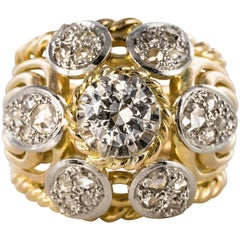 French 1950s 0.80 Carat Diamonds 18 Karat Yellow Gold Platinum Thread Dome Ring