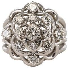 French 1950s 1.10 Carat Diamonds 18 Karat White Gold Jean Eté Ring