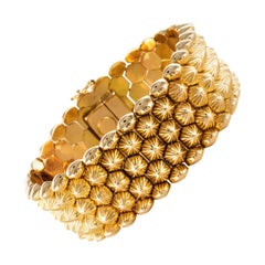 French 1950s 18 Karat Yellow Gold Honeycomb Bracelet