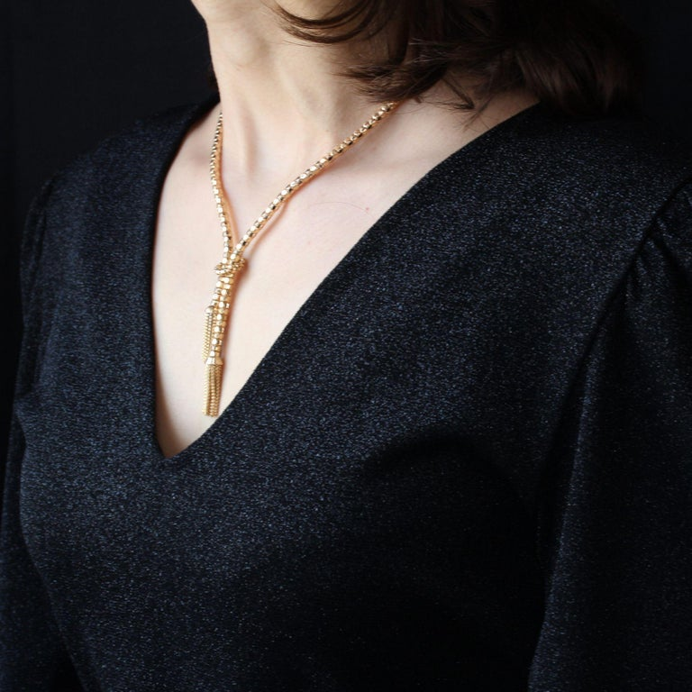 Women's French 1950s 18 Karat Yellow Gold Orvet Mesh and Tassels Necklace For Sale