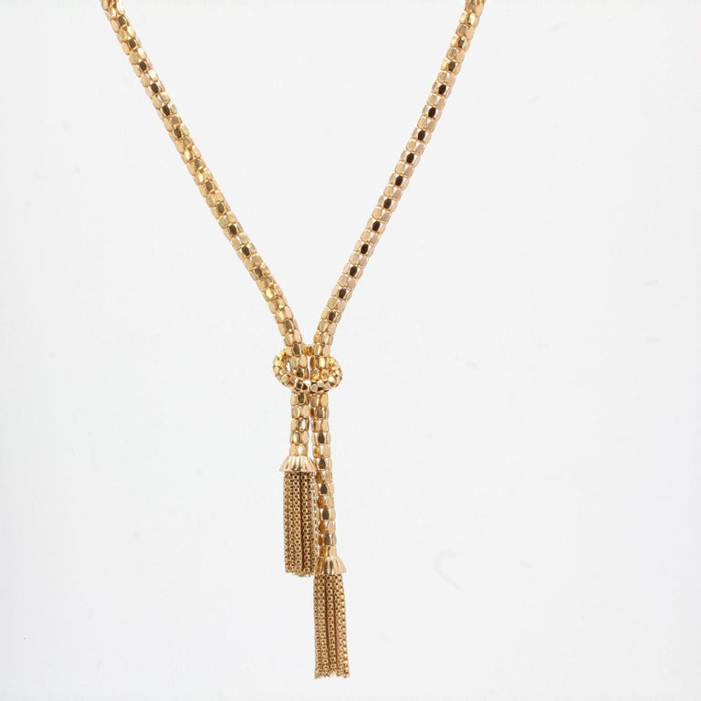 French 1950s 18 Karat Yellow Gold Orvet Mesh and Tassels Necklace For Sale 1