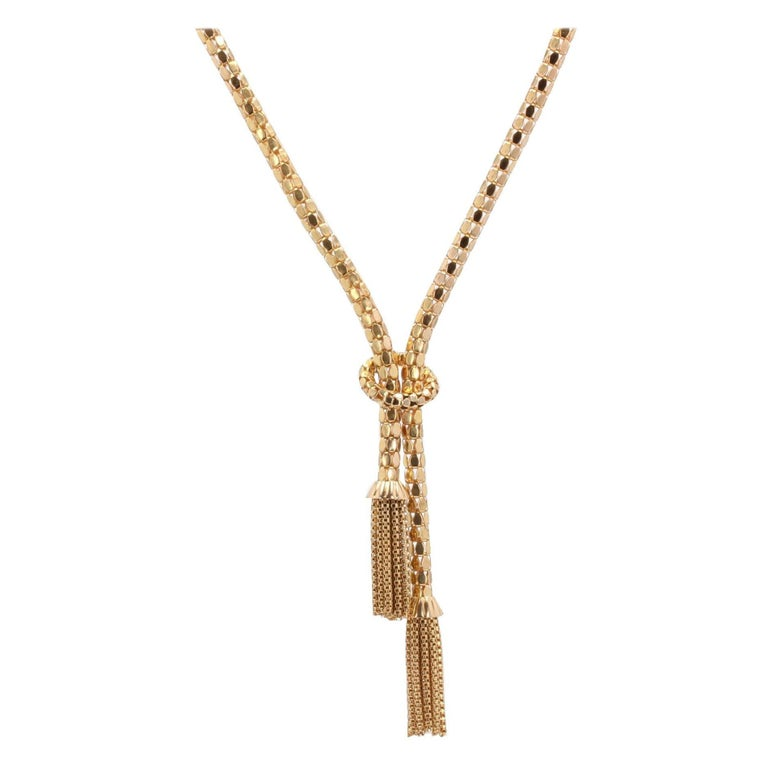 French 1950s 18 Karat Yellow Gold Orvet Mesh and Tassels Necklace For Sale