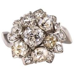 French 1950s 2.40 Carat Diamonds 18 Karat White Gold Retro Bouquet Ring