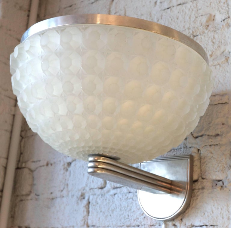 French 1950s Art Deco chrome and opaque white glass sconce.