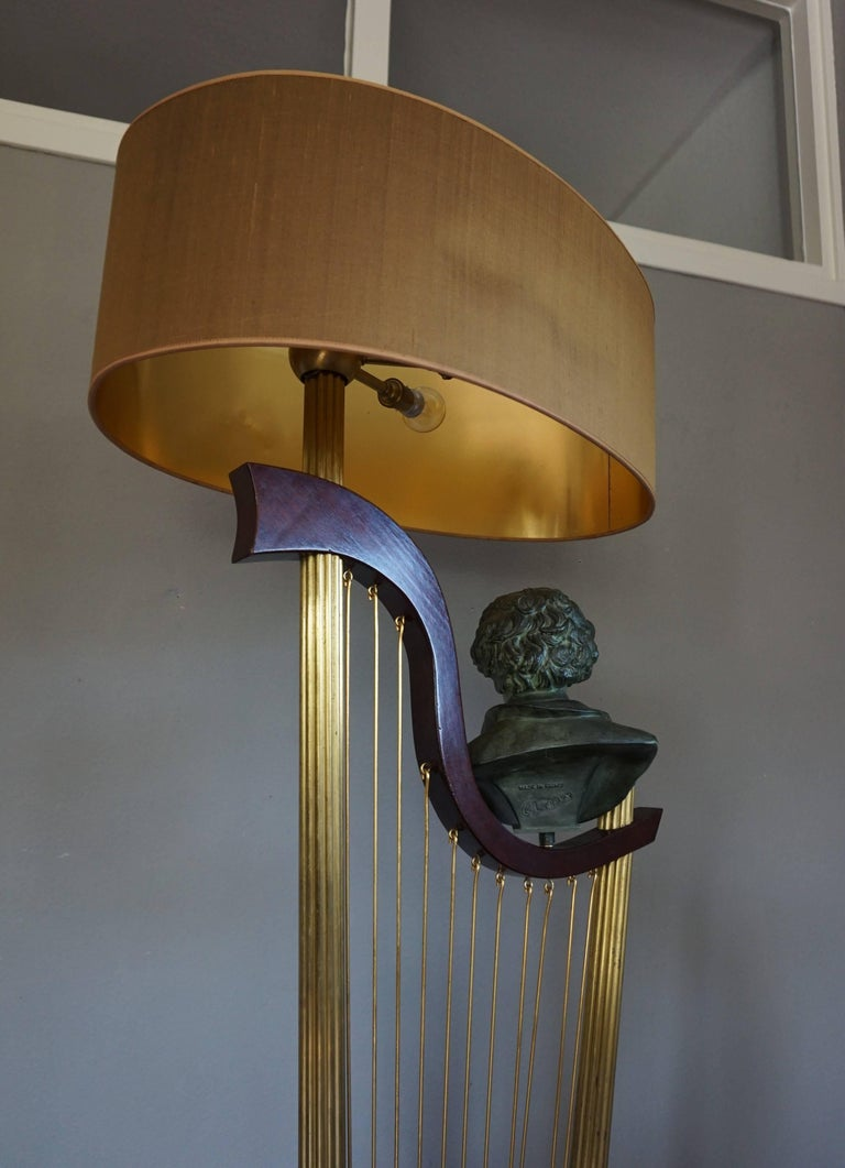 French 1950s Art Deco Style Brass Harp & Beethoven Bust Floor Lamp by G. LeRoux For Sale 4