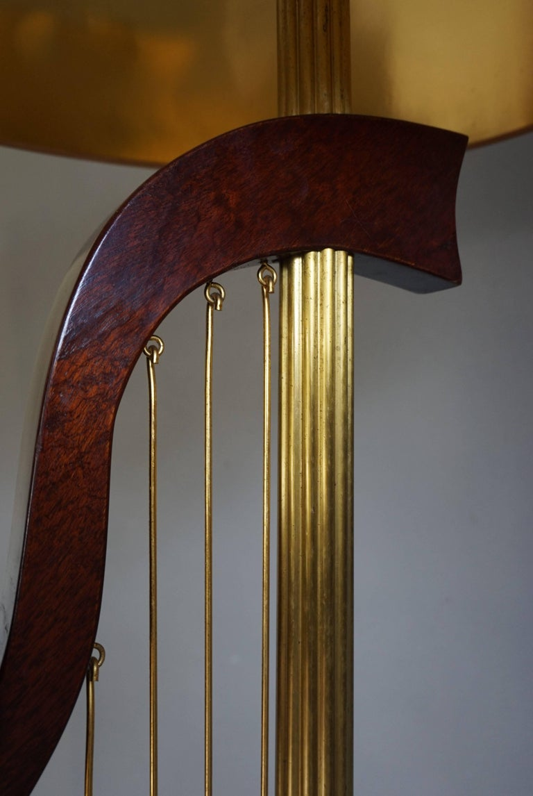 French 1950s Art Deco Style Brass Harp & Beethoven Bust Floor Lamp by G. LeRoux For Sale 5