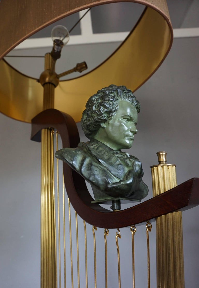 French 1950s Art Deco Style Brass Harp & Beethoven Bust Floor Lamp by G. LeRoux For Sale 7