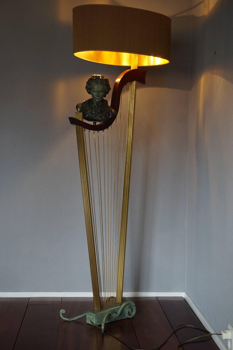 French 1950s Art Deco Style Brass Harp & Beethoven Bust Floor Lamp by G. LeRoux For Sale 10