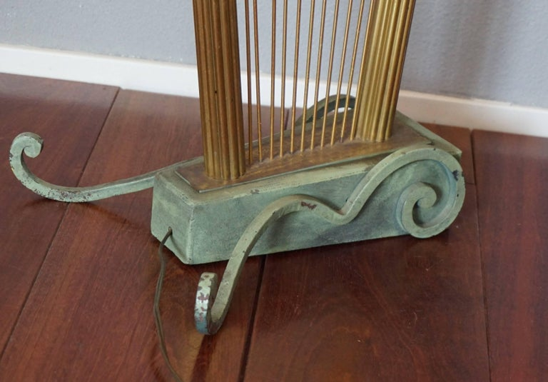 French 1950s Art Deco Style Brass Harp & Beethoven Bust Floor Lamp by G. LeRoux For Sale 12