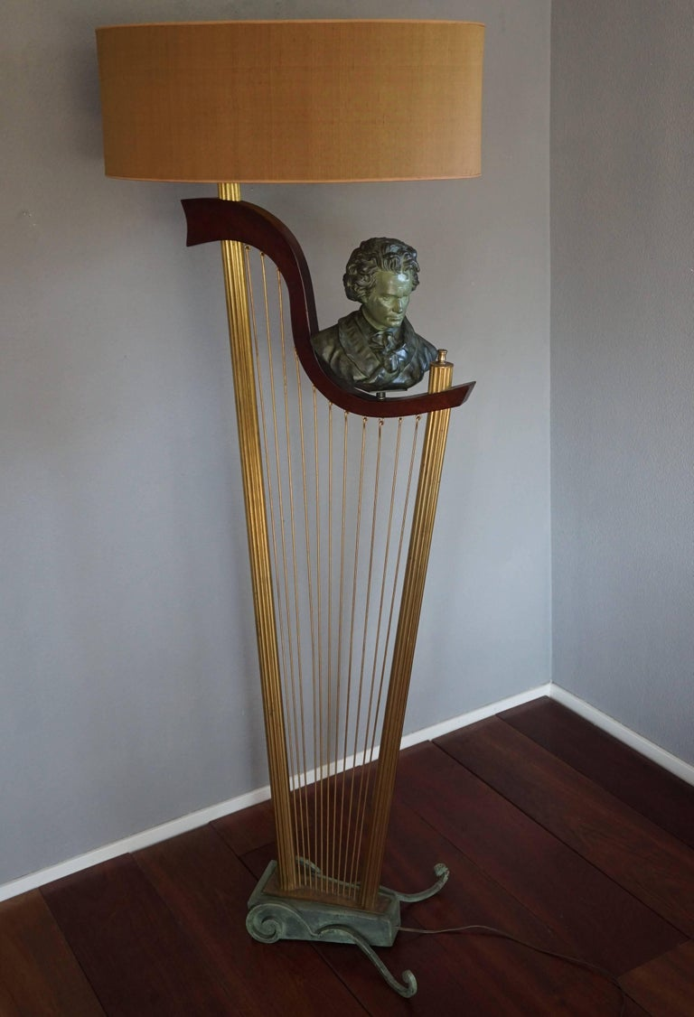 French 1950s Art Deco Style Brass Harp & Beethoven Bust Floor Lamp by G. LeRoux For Sale 13
