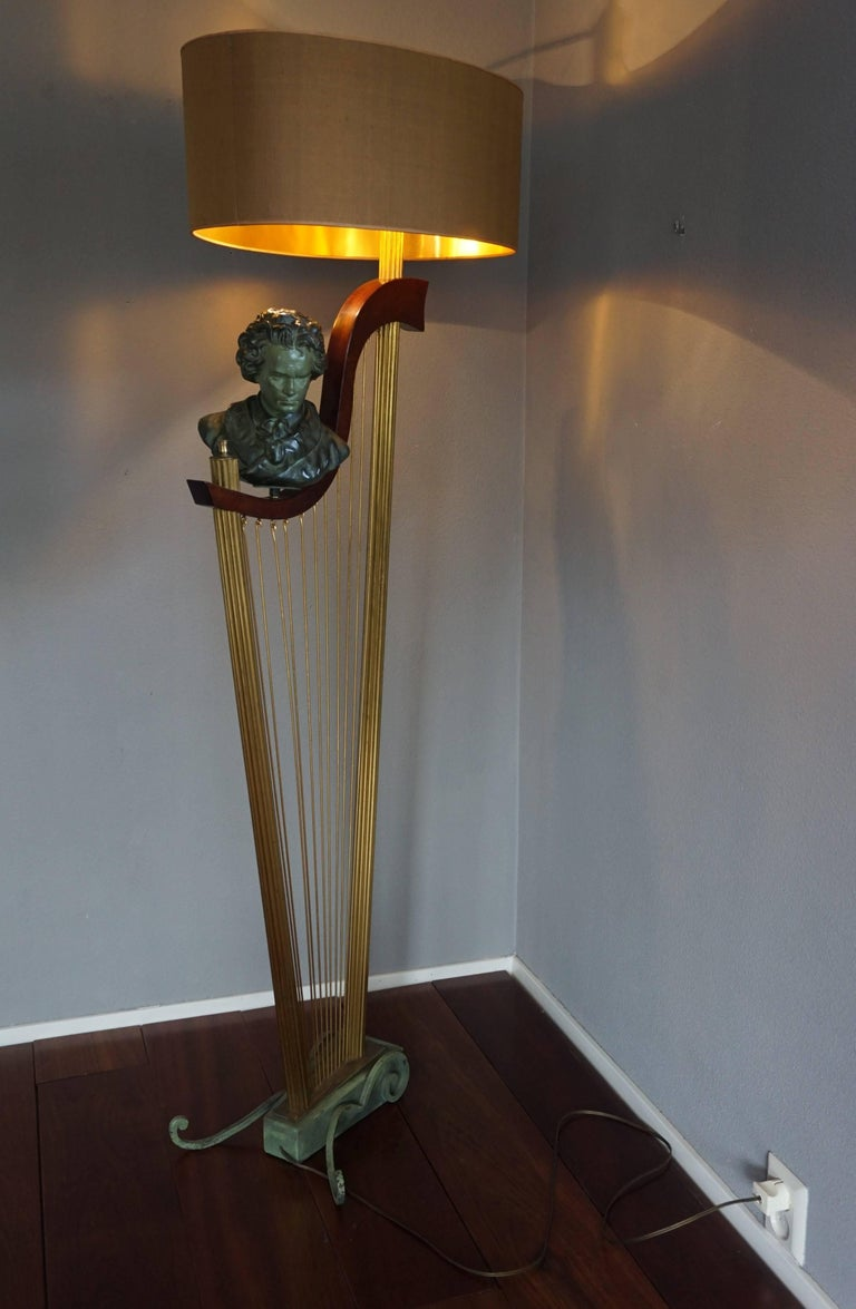 Hand-Crafted French 1950s Art Deco Style Brass Harp & Beethoven Bust Floor Lamp by G. LeRoux For Sale