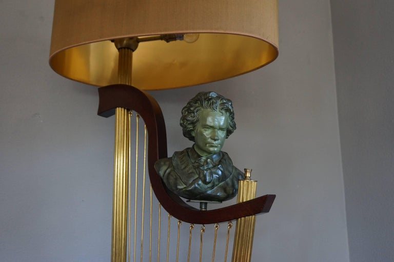 20th Century French 1950s Art Deco Style Brass Harp & Beethoven Bust Floor Lamp by G. LeRoux For Sale