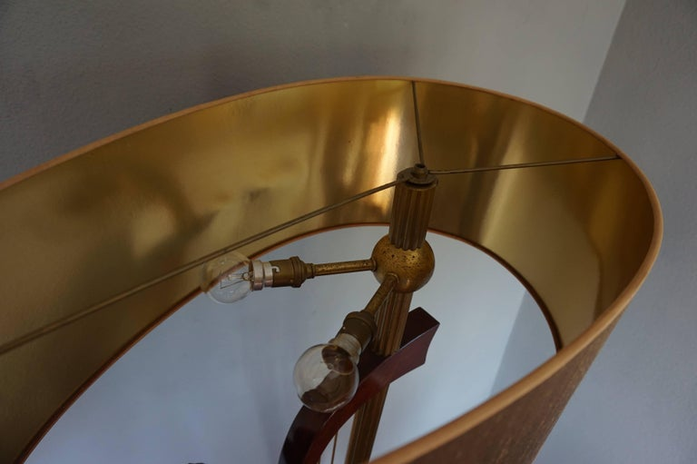 French 1950s Art Deco Style Brass Harp & Beethoven Bust Floor Lamp by G. LeRoux For Sale 3