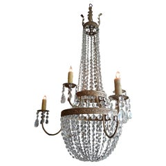 French 1950s Basket and Crown Crystal and Metal Chandelier with Six-Light