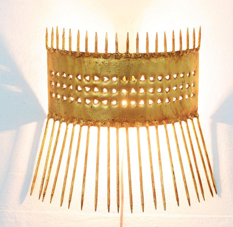 Gold Leaf French 1950s Brutalist Hand-Hammered Gilt Iron Nails Design Wall Light  For Sale