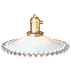 French 1950s Ceiling Single Light Pendant with Milk Glass Shade