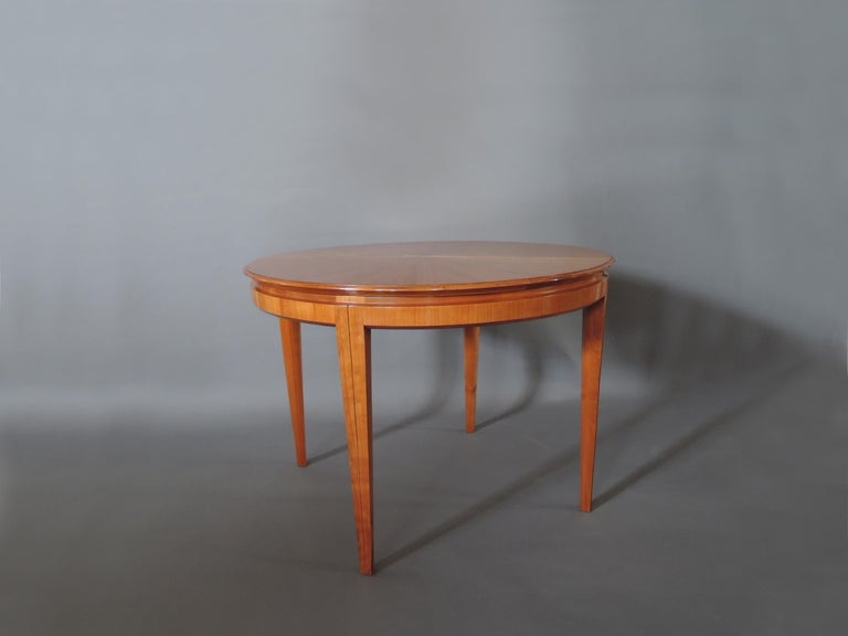 French 1950s Cherry Round Dining Table Divisible in 2 Demilune Tables For Sale 5