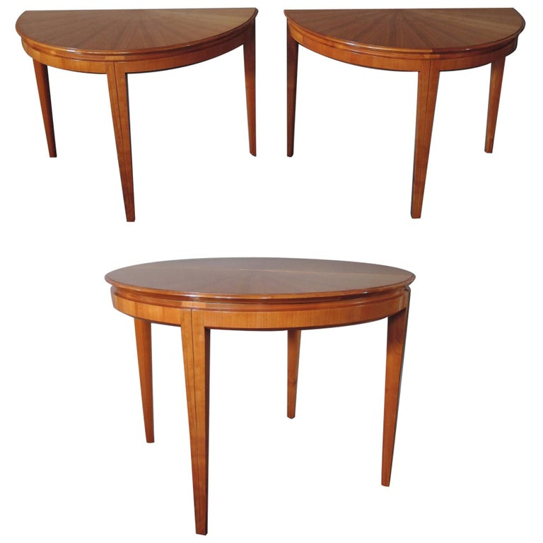 French 1950s Cherry Round Dining Table Divisible in 2 Demilune Tables For Sale
