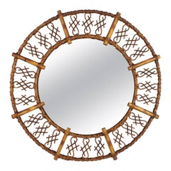 French 1950s Chinoiserie Rattan and Bamboo Round Mirror